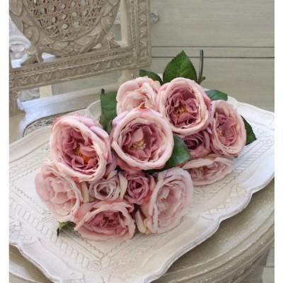 オールドローズ パープルブーケ7輪 造花 シルクフラワー アーティフィシャルフラワー 紫色 花束 薔薇 かわいい おしゃれ アンティーク アンティーク風 シャビ