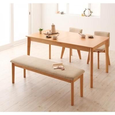 北欧デザインエクステンションダイニング Foret フォーレ 4点セット テーブルW150-200+回転チェア×2+ベンチ  ナチュラル