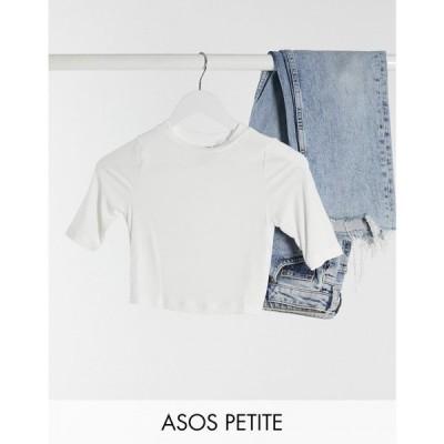 エイソス ASOS Petite レディース ベアトップ・チューブトップ・クロップド Asos Design Petite Slim Fit Crop T-Shirt In Sexy Sheer Rib In White ホワイト