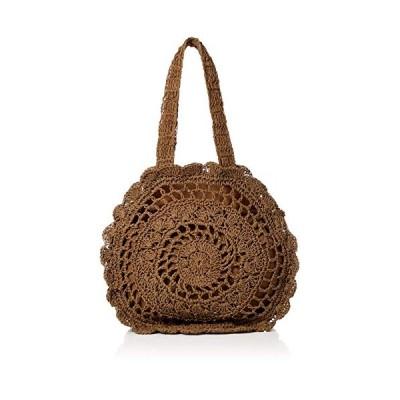 キンシュウ レディース カゴバッグ ストローバッグ 丸型 かぎ針 編み 手提げ 花柄 ファスナー 付 bag082 ブラウン