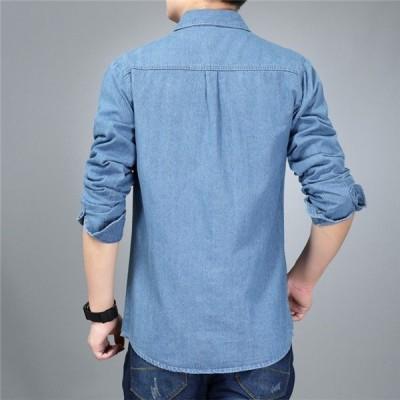 デニムシャツメンズシャツショート春物春服春コートジャケットアウターカジュアルスリム細身長袖かっこいい