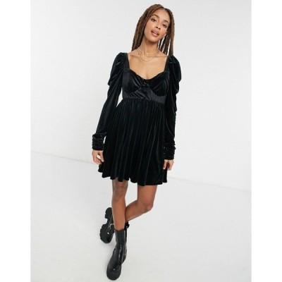 エイソス レディース ワンピース トップス ASOS DESIGN velvet babydoll mini dress in black Black