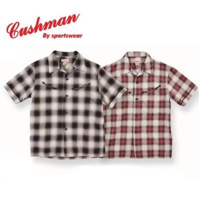 クッシュマン オンブレチェックスマイルポケットオープンカラーシャツ CUSHMAN メンズ レディース 半袖シャツ コットン85% リネン15% 25416