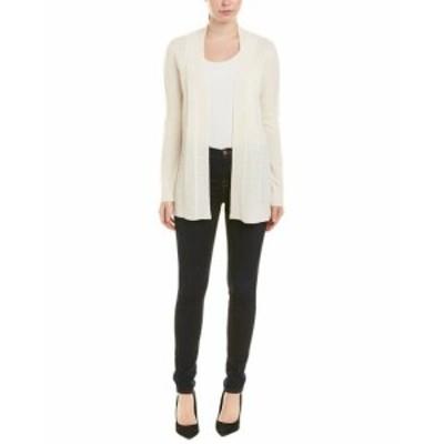 ファッション トップス Incashmere Chevron Knit Cashmere Cardigan S White
