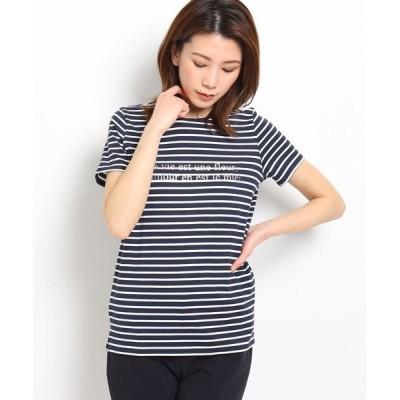 COUP DE CHANCE/クードシャンス 【洗える】ボーダーロゴTシャツ ダークネイビー(394) 38(M)