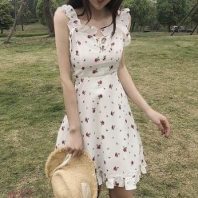 ビスチェ ワンピース 花柄 フリル ビスチェ 半袖 ドッキング コルセット t tシャツ キャミ 大きいサイズ セットアップ 風 シャツ ワンピ
