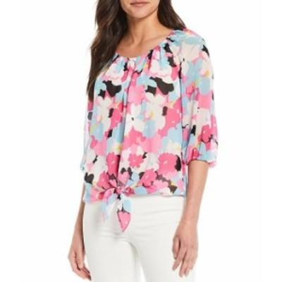 カルバンクライン レディース シャツ トップス Floral Print Chiffon Scoop Neck Bubble Sleeve Tie Front Blouse Flamingo Multi