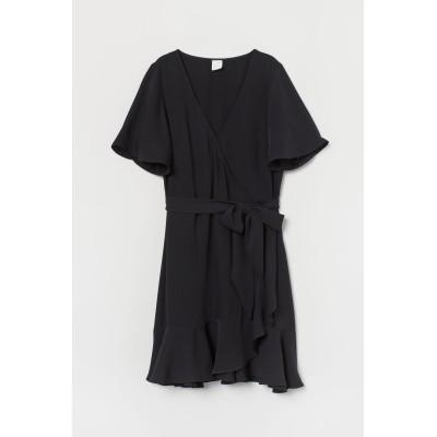 H&M - Vネックラップドレス - ブラック