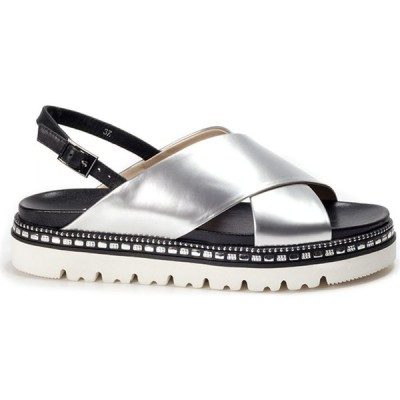 Shu Talk レディース サンダル・ミュール シューズ・靴 Amaztep Studs Metallic Patent Leather Sandals Silver