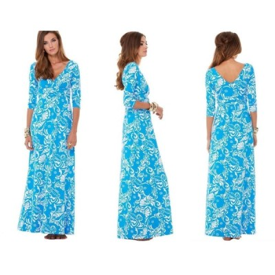 ワンピース リリーピュリッツァー Lilly Pulitzer GLORIA EMPIRE WAIST MAXI DRESS Ariel Blue Tide Pools White S
