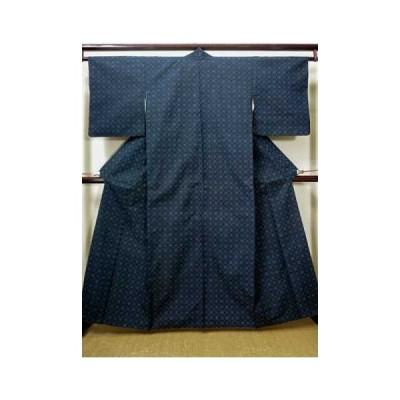 着物 紬 女性用 和服  シルク(正絹)  スモーキーな 青, 菱 【中古】 【USED】 【リサイクル】 ★★★☆☆ G1105B