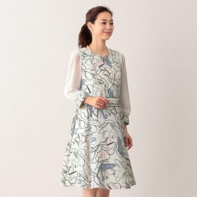 ラインフラワープリントドレス