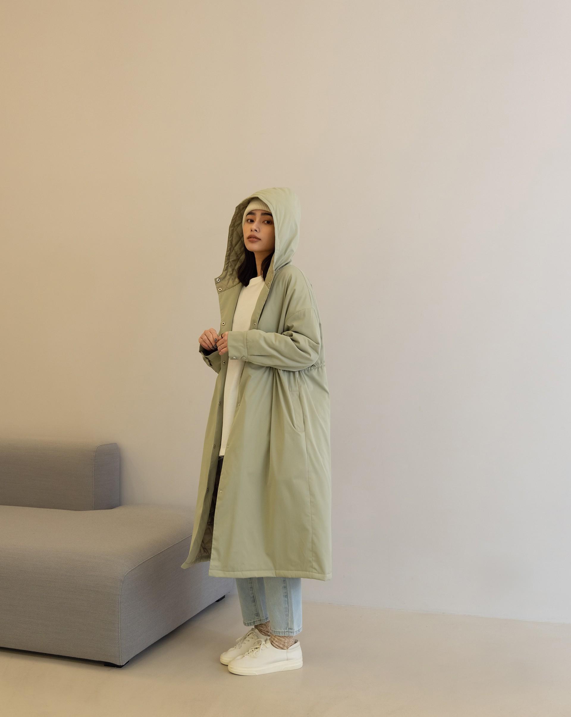 防風寬鬆鋪棉軍裝外套-Meierq