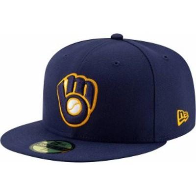 ニューエラ メンズ 帽子 アクセサリー New Era Men's Milwaukee Brewers 59Fifty Alternate Navy Authentic Hat