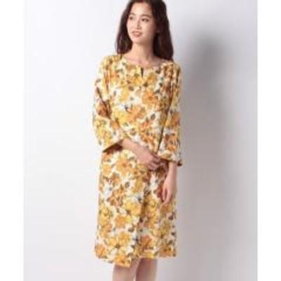 Ranan(ラナン)大花柄巻きスカートデザインワンピース