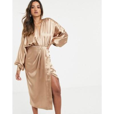 エイソス ASOS EDITION レディース ワンピース ワンピース・ドレス extreme sleeve plunge midi dress in satin Caramel