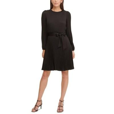 ダナ キャラン ニューヨーク ワンピース トップス レディース Pleated Fit & Flare Dress Black
