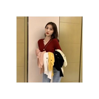 【送料無料】気質 着やせ 着やせ 襟 長袖セーター 女 シャツ デザイン ボタン 何 | 346770_A63555-2200492