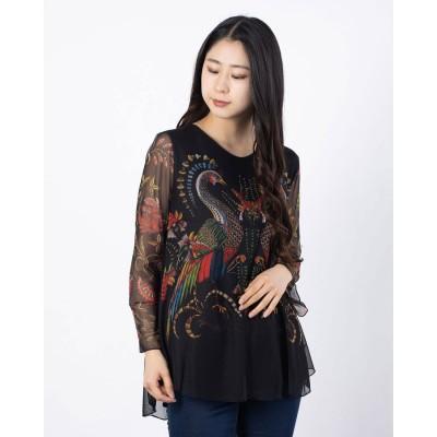 デシグアル Desigual Tシャツ3/4袖 SANDRINI (グレー/ブラック)
