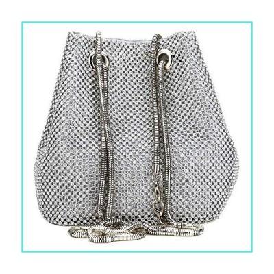 【新品】Clutch Bag, Women Evening Bag with Sparkly Crystal Rhinestone Elegant Clutch Purse Bag Handbag with Chain Shoulder Straps (Silver)(並