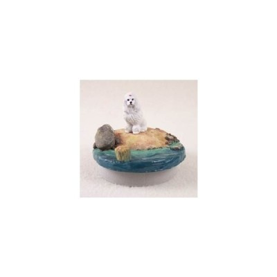 "Poodle White Candle Topper Tiny One""A Day on the Beach"""