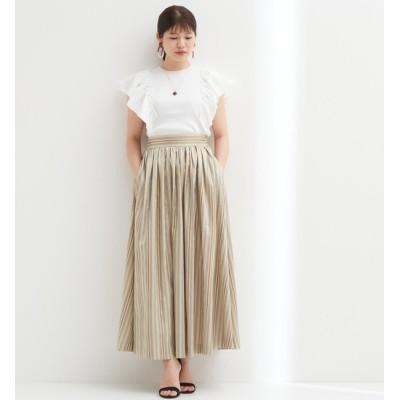 【ティアラ/TIARA】 ドビーストライプタックギャザーロングスカート