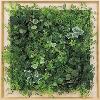 壁面緑化 木目フレーム  グリーンパネル600×600mm ナチュラルB 人工観葉植物 造花 アートパネル 連接グリーン 壁掛け60cm