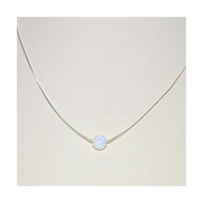 5mm White Opal Gemstone Bead with Real 925 Sterling Silver Fine Box Chain Necklace. Made to your size