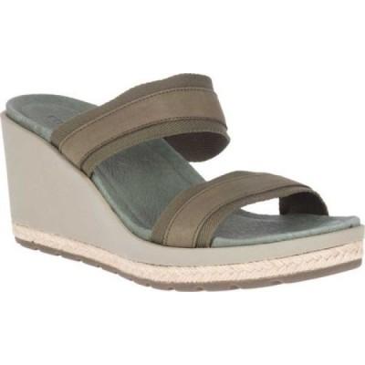 メレル Merrell レディース サンダル・ミュール ウェッジソール シューズ・靴 Kaiteri Wedge Slide Olive Elastic Web/Nubuck