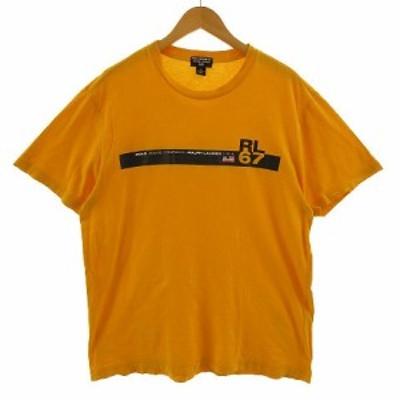 【中古】ポロジーンズ ラルフローレン POLO JEANS Tシャツ 半袖 丸首 ロゴプリント イエロー系 黄色系 XL