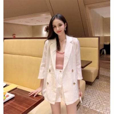 韓国ファッション 二点セット 女性 スリムフィット コート+ショートパンツ