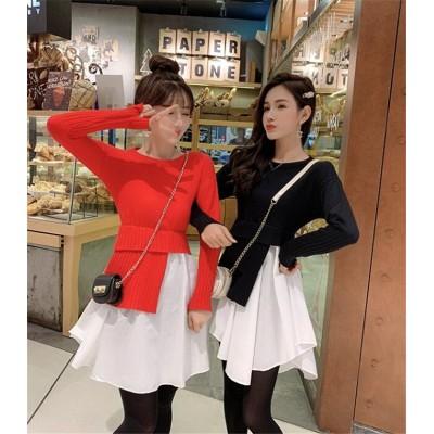❤秋コーデにぴったり♪ゆるっとお洒落に!デザインセンス イレギュラー フェイクツーピース ボトミングセーター ワンビース 女性