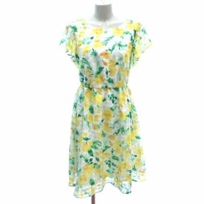 【中古】クリアインプレッション CLEAR IMPRESSION フレアワンピース ひざ丈 フリル 花柄 フレンチスリーブ 1 白 黄色