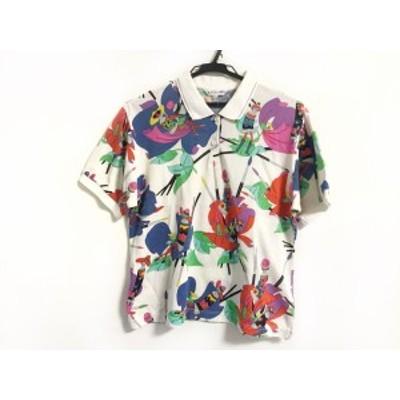 レオナール LEONARD 半袖ポロシャツ サイズM レディース 白×マルチ SPORT/ラメ【中古】20200809