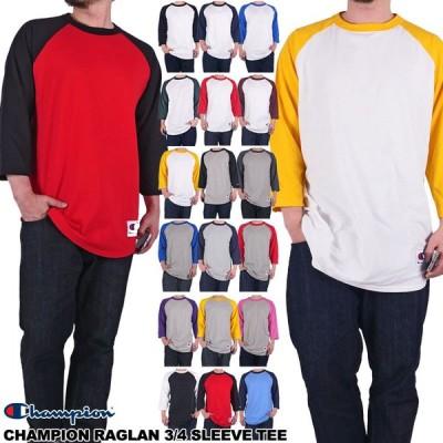 チャンピオン Tシャツ ラグラン 七分袖 CHAMPION 長袖Tシャツ ロンT ベースボール メンズ レディース 大きいサイズ USAモデル 無地 ラグランスリーブ
