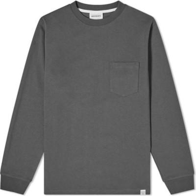 ノースプロジェクト Norse Projects メンズ 長袖Tシャツ ポケット トップス Long Sleeve Johannes Pocket Tee Slate Grey