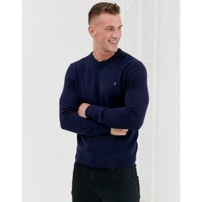 ファーラー メンズ ニット&セーター アウター Farah Rosecroft wool crew neck sweater in navy Navy