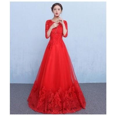 ドレス パーティードレス 袖あり 赤 結婚式