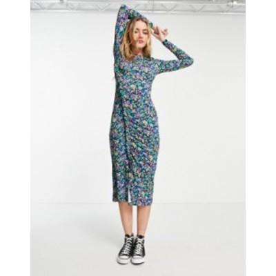 エイソス レディース ワンピース トップス ASOS DESIGN midi dress with frill ruched detail in blue floral Blues