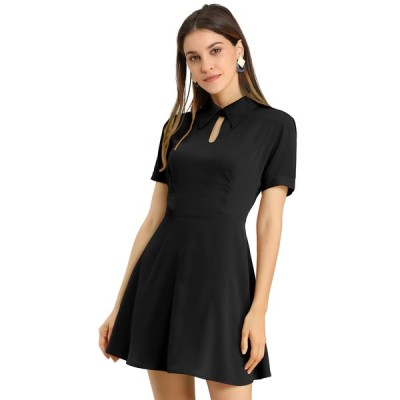 uxcell Allegra K ワンピース ドレス ミニ 折襟 キーホール オフィス フィット フレア レディース ブラック S