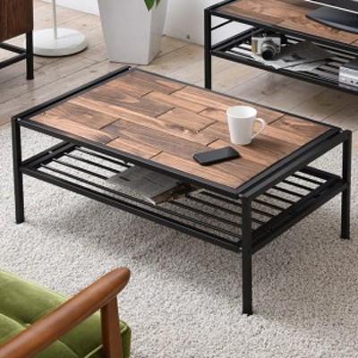 センターテーブル ローテーブル GRANT 天然木 スチールフレーム 幅90cm ( 送料無料 テーブル コーヒーテーブル 木製天板 アイアン