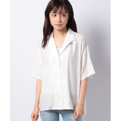 (Green Parks/グリーンパークス)レーヨン混オープンカラーシャツ/レディース オフホワイト