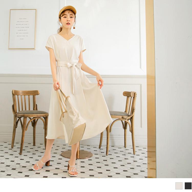 純色質感V領收腰綁帶短袖傘襬洋裝