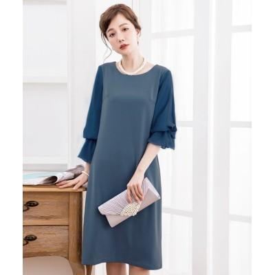 【ドレス スター】 キャンディーシフォンスリーブワンピースドレス レディース ブルー XLサイズ DRESS STAR