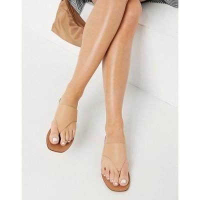 エイソス レディース サンダル シューズ ASOS DESIGN Folly leather toe thong sandals in beige