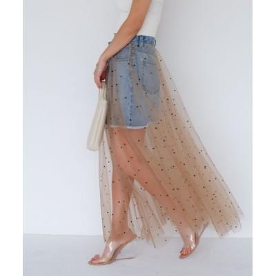SPIRALGIRL / チュールデニムミニスカート WOMEN スカート > デニムスカート