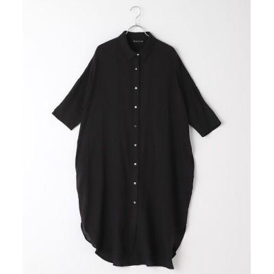 MARcourt/マーコート linen wide long shirt black FREE