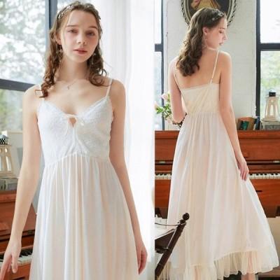2020夏新作 レディース 寝巻き ロング丈 ロマンティック ノースリーブ 姫系 レース ネグリジェ princess lace slip nightdress ナイトドレス ナイティ
