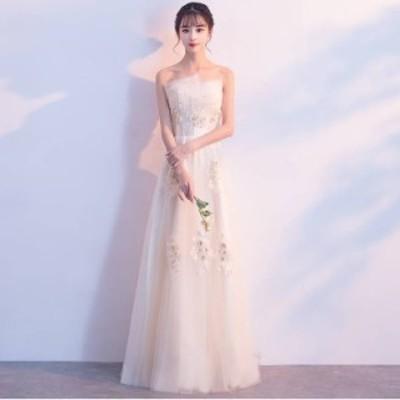 ロングドレス スレンダーライン パーティードレス ウェディングドレス 春夏 結婚式 前撮り 白 大きいサイズ マキシ丈 袖なし ベアトップ