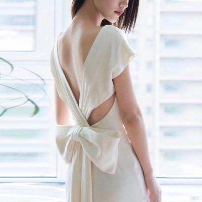 夏新品ウェディングドレス ウェディングドレス白 パーティードレス V襟 露背 簡約 花嫁ロングドレス 結婚式 トレーンライン 二次会 エレガント お呼ばれhs5313